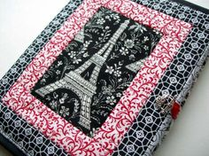 Paris Dreams Quilted journal cover  red by Pamelaquilts on Etsy,