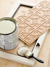 Kitchen Cabinet Makeover: Tin Ceiling Inserts....use this on the medicine cabinet