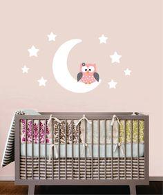 Chouette Wall Decal - hibou lune et étoiles Childrens Wall Decals - hibou et Moon Nursery Wall Decals - vinyle lettrage sticker- on Etsy, 30,64$ CAD