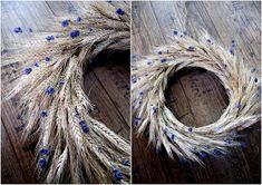 věnečky Gluten Free Recipes gluten and dairy free cake Lavender Crafts, Lavender Wreath, Wheat Decorations, Corn Husk Wreath, Corn Dolly, Shabby Chic Porch, Deco Nature, Wreaths And Garlands, Flower Farm