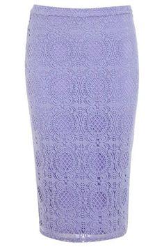 <p>Miss Selfridge Lilac Lace Pencil Skirt, $61