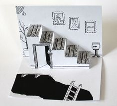 Hand Drawn Spooky Staircase Pop Up Card