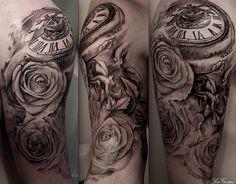 pocket watch tattoo sleeve | Tags: Bird Clockwork half sleeve Pocket Watch roses Vines