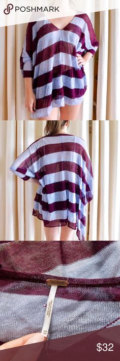 Free People Sheer Striped Tunic In very good-used condition. There are a few tiny snags here and there in the material but they're very minor. Marked as an XS/S, fits oversized. Smoke/pet free home. Ask all questions before buying. NO trades ❌🙅🏻 Bundle for a discount! 🎉 Free People Tops Tunics