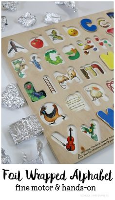 School Time Snippets: Tin Foil + Puzzle = Fine Motor Literacy Activity. Pinned by SOS Inc. Resources. Follow all our boards at pinterest.com/sostherapy/ for therapy resources.