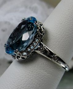 Blue Topaz Ring, Topaz Gemstone, Geeks, Stock Design, Sterling Silver Filigree, Filigree Ring, Steampunk, Bold Rings, Antique Rings