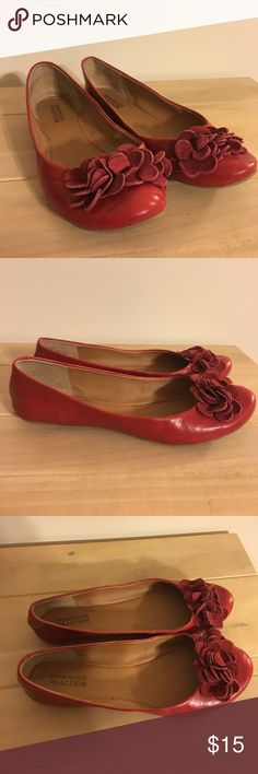Kenneth Cole Reaction flats Kenneth Cole Reaction flats. Red. Some wear (see pic of heel) but overall good condition. Soles have little wear. Kenneth Cole Reaction Shoes Flats & Loafers