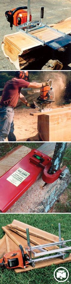 Creating your own furniture just got easier! Chainsaw mill bolts directly to the chainsaw's bar without any drilling required. That means that there are fewer steps to get through before you can get to work. Woodworking Jigs, Carpentry, Woodworking Projects, Wood Tools, Diy Tools, Outdoor Projects, Wood Projects, Create Your Own Furniture, Chainsaw Mill
