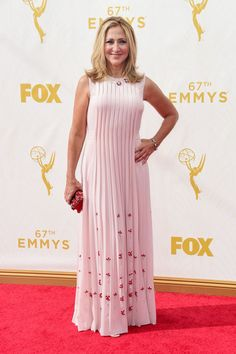 Edie Falco in Prada dress and Fred Leighton jewelry at the 2015 Emmys. See what all the stars wore to the ceremony.