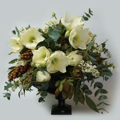 Winter arrangement of White Amaryllies, Ranunculus, Phlox & Lilac, combined with Eucalyptus, Seeded Eucalyptus, Yellow Laurel and long Pine Cones.