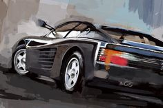 Excited to share this item from my shop: Ferrari Testarossa painting car decor Great Paintings, Paintings For Sale, Classic Sports Cars, Classic Cars, Cards For Boyfriend, Garage Art, Car Sketch, Automotive Art, Unique Art
