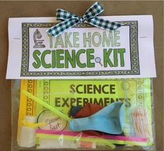 Send Home Science!!  Super cool DIY science kits for kids. Would be perfect for Browine Home Science Badge!
