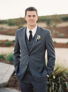 Charcoal Striped Three Piece Suit for a Vineyard Wedding | Blueberry Photography | http://heyweddinglady.com/sparkling-rustic-glam-vineyard-wedding/