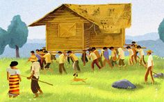 The origin of Bayanihan can be traced from a common tradition in Philippine towns where community members volunteer to help a family move to a new place. It also means a spirit of communal unity to achieve a particular objective. Filipino Art, Filipino Culture, Filipino House, Philippines Culture, Philippines Travel, President Of The Philippines, Philippine Art, Landscape And Urbanism, Rap Wallpaper