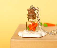 Polymer clay kawaii necklace carrot bottle jar miniature by Zoozim, $12.00