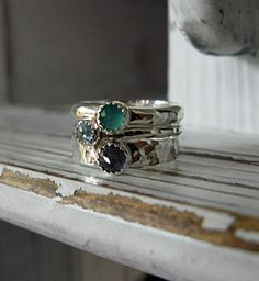 Three Stacking Rings Size 7 3/4 by HotRoxCustomJewelry on Etsy, $88.00