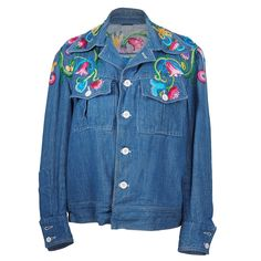 Vintage 70s Floral Embroidery Denim Jacket – THE WAY WE WORE