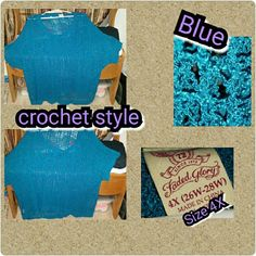 Turquoise blouse Crochet style blouse can be worn with  Tank-Top or by its self Faded Glory Tops Blouses