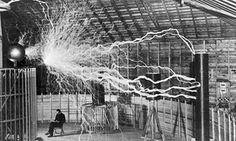 electrical engineer Nikola Tesla in his lab in 1901