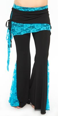 Lace Tribal Fusion Pants - BLACK / TURQUOISE BLUE