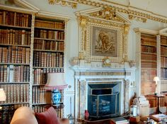 Holkham Hall Interiors   The Long Library at Holkham Hall, built in Palladian style, designed ...