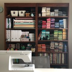 """Barbara Cain on Instagram: """"I cleaned! #modernquiltingbyb #pghmqg"""" Sewing Room Storage, My Sewing Room, Sewing Studio, Me Clean, Fabric Scraps, Recycling, Cleaning, Organization, Craft"""