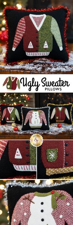 "Add a little tinsel-framed humor to your Christmas décor this year with these 3 adorable Ugly Sweater Pillows! Created using beautifully textured wool and embellishments, including colored buttons and sparkling tinsel for the edges of each pillow! Add the coordinating thread set to complete the stitches as shown! One kit makes 3 pillows!  Pillows finish to 6½"" x 7½"" each.  This Kit Includes: Pattern 100% Wool Fabrics for Background, Applique, and Backing Button Embellishments Colored Tinsel"