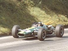 Jim Clark, August 1965 racing the Indy winning Lotus Type 38 between Ollon and Villars in the Swiss Alps. Ford Fairlan; 4.2 liters; 505 HP.