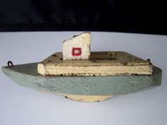 Vintage antique Folk Art boat w/cabin handcrafted - handmade toy