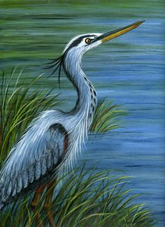 Great Blue Heron Canvas Print / Canvas Art by Sandra Estes Bird Pictures, Pictures To Paint, Vogel Illustration, Blue Heron, Bird Drawings, Wildlife Art, Bird Art, Painting & Drawing, Boat Painting
