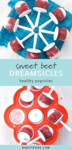 These three ingredient Sweet Beet Popsicles are going to be a staple in your house all summer. Delicious, refreshing and creamy, these frozen treats go beyond just a tasty popsicle, they're also full of veggies, fruit and protein. Healthy enough to be served for any meal of the day!! With a few simple tips, these delicious popsicles can be prepped in less than 5-minutes! Click for the recipe and your new favorite, healthy summer treat! #popsicles #healthytreats Baby Puree Recipes, Pureed Food Recipes, Healthy Dessert Recipes, Baby Food Recipes, Toddler Recipes, Healthy Store Bought Snacks, Healthy Popsicles, Processed Sugar, Baby Eating