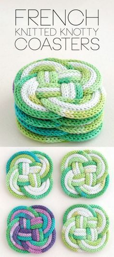 DIY Spool Knit Knotted Coasters Tutorial from My http://Poppet.An...
