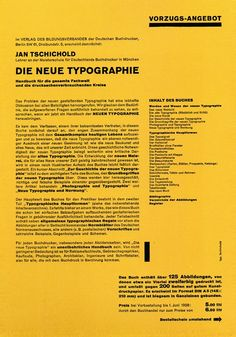 GERMANY: Jan Tschichold, brochure for his book Der Neue Typographie, He explained design principles to a wide audience of printers, typesetters, and designers in his 1928 book Die neue Typographie. Graphisches Design, Swiss Design, Layout Design, Print Design, Graphic Design, Modern Design, Typography Layout, Lettering, Grid