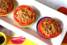 Broiled Tomatoes Parmesan.  This looks like a great recipe.  I sprinkle chopped garlic on top of tomatoes, add the parmesan...then broil.