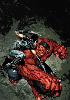 Wolverine vs Red Hulk by Ian Churchill #XForce #CodeRed