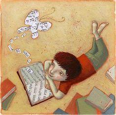 """""""Nunca está só quem possui um bom livro para ler e boas ideias sobre as quais meditar."""" Renato Kehl Ilustração: Ofra Amit"""