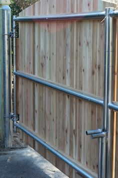 pine tree home wood fence gate with galvanized frame really like this no woodpost in ground to worry about want