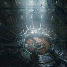 Liberto Reminds me of the Underground with the center being a gladiator-style arena.Reminds me of the Underground with the center being a gladiator-style arena. Fantasy City, Fantasy Places, Fantasy Kunst, Fantasy World, Final Fantasy, Concept Art World, Environment Concept Art, Environment Design, Fantasy Artwork