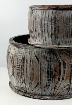 """Set of 2 Wood Barrel Pots $25 (11"""" & 8.75"""")"""