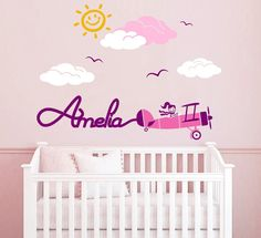 Airplane Personalized Custom name Wall Decal Sticker for Nursery or Girl's Room