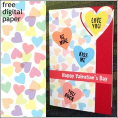 Print & Cut Valentine with Free Digital Paper, Silhouette Studio and SVG Files Silhouette Cameo Vinyl, Silhouette Studio, Paper Cutting Machine, Print And Cut, Happy Valentines Day, Svg File, Cutting Files, Fonts, Cricut