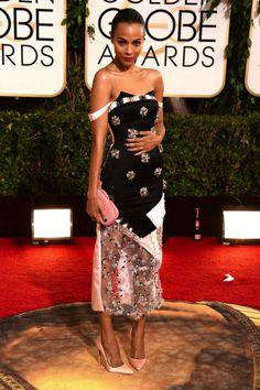 Zoe Saldana in Prabal Gurung | Golden Globes 2014