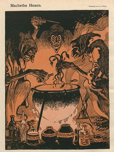 """Witches Cauldron Halloween Diamond Painting """"Double bubble, toil and trouble… fire makes the cauldron bubble…"""" — """"The Three Witches"""" Macbeth Retro Halloween, Halloween Tags, Photo Halloween, Fairy Halloween Costumes, Halloween Pictures, Holidays Halloween, Happy Halloween, Halloween Witches, Vintage Halloween Images"""