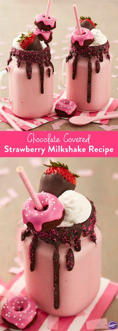 Chocolate Covered Strawberry Milkshake Recipe - Enjoy the goodness of chocolate covered strawberries in a glass! Dark Cocoa Candy Melts blend perfectly with strawberry ice cream. Top it all off with sparkling sugar, a mini chocolate doughnut and a chocolate covered strawberry, of course.