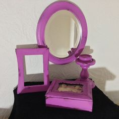 shabby chic set morror picture frame candle by MySugarBlossom, $52.00