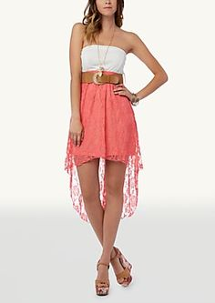 image of Belted Lace Skirt Tube Dress
