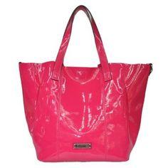 Glossy Leather Hobo Bag in a Bag Handbag (Fuchsia),