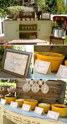 Vintage Fall Birdcage Baby Shower Brunch // I love the yogurt parfait bar & brunch treats