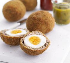Scotch eggs~A hidden layer of bacon makes this traditional Scotch egg recipe extra special
