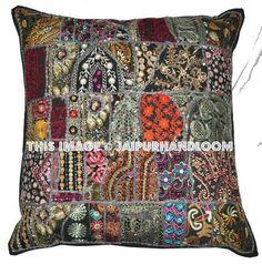 Vintage Bohemian Indian throw Pillow, gypsy throw pillow for couch bohemian patchwork pillow ethnic indian pillow decorative pillow Sofa Pillow Covers, Sofa Throw Pillows, Living Room Pillows, Cushions On Sofa, Floor Pillows, Pillow Cases, Indian Pillows, Indian Bedding, Bohemian Pillows